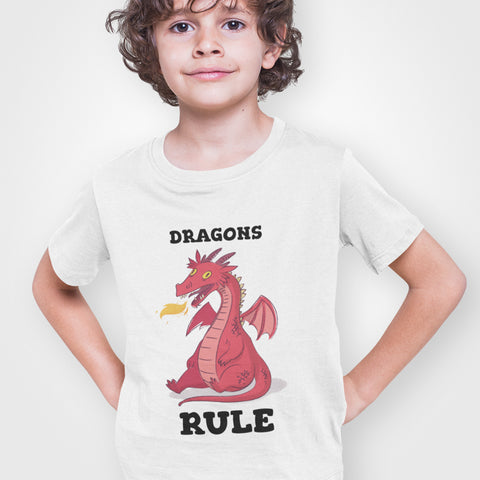 Kids Boys Dragons Rule T-Shirt