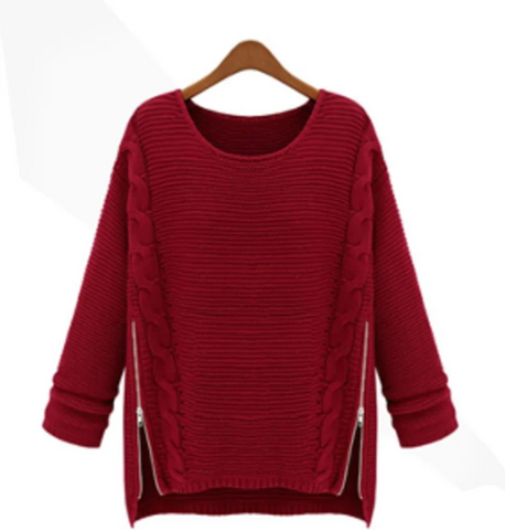 Womens Comfy Casual Sweater with Side Zipper