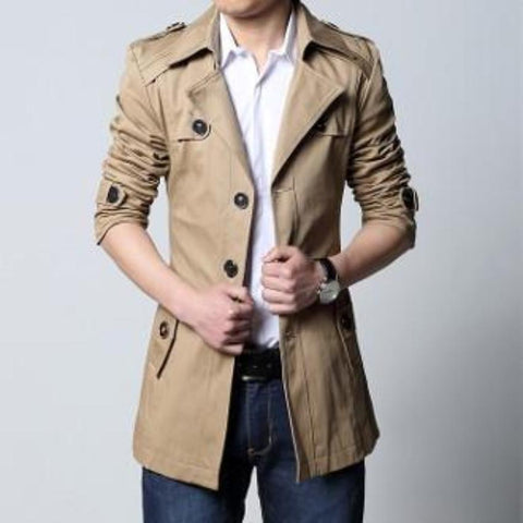 Mens Removable Hooded Trench Jacket