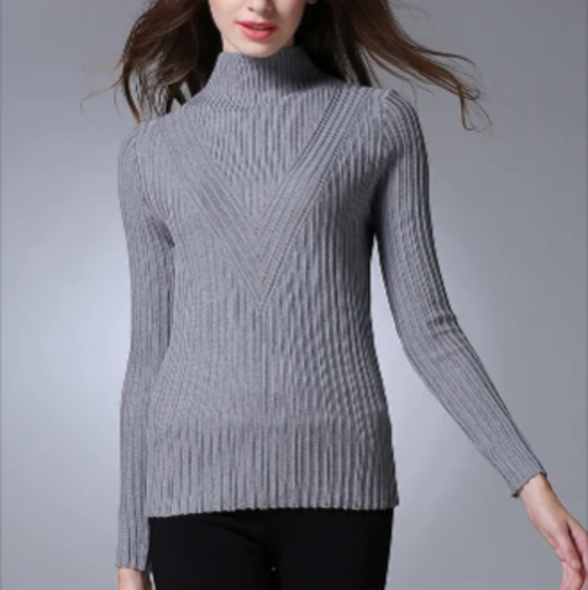 Womens Slim Fit Turtle Neck Light Sweater