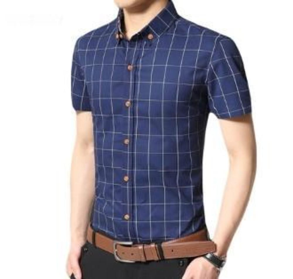 Mens Short Sleeve Button Front Checkered Shirt in Navy