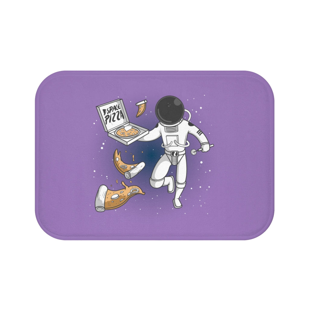 Astronaut Eating Space Pizza Bath Mat