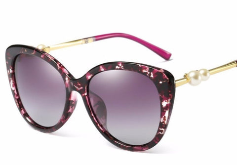 Marble Frame Womens Sunglasses with Pearl Details