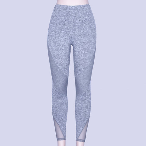 High Waist Yoga Pants with Mesh Panels