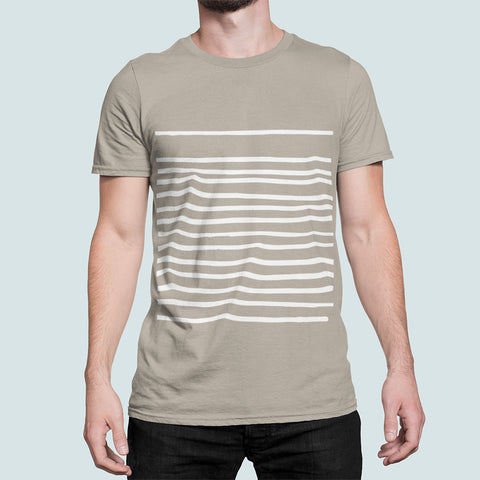 Men's T-Shirt with Horizontal Lines in Sand