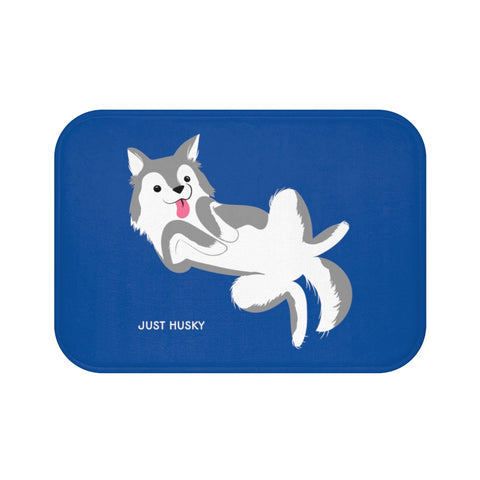 Cute Husky Blue Bath Mat