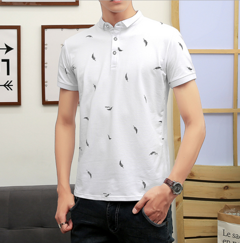 Mens Short Sleeve Polo Shirt with Feather Print