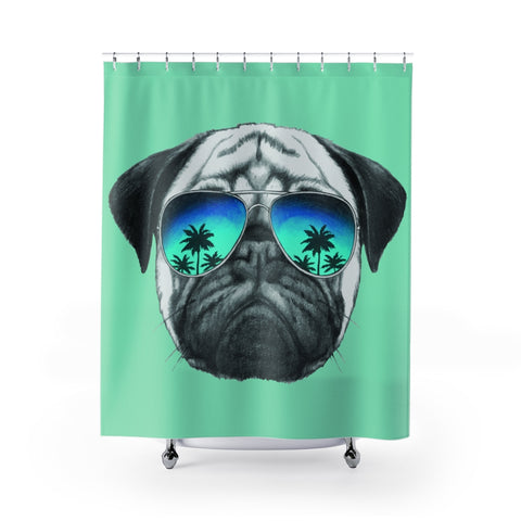 Pug in Sunglasses Green Shower Curtains