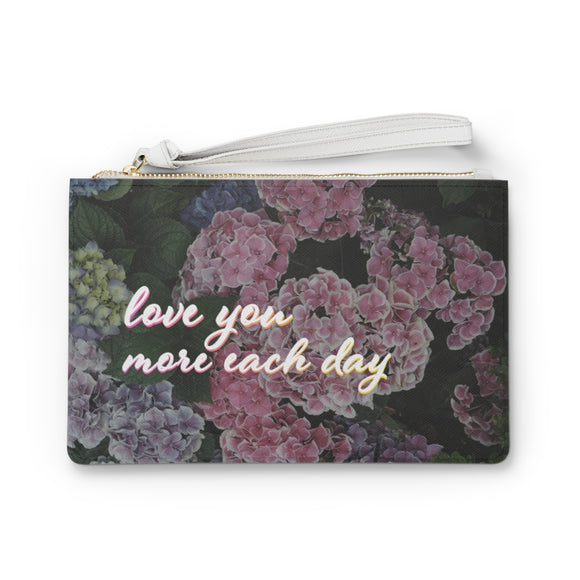 Sweet Floral Design Vegan Zipped Clutch Bag