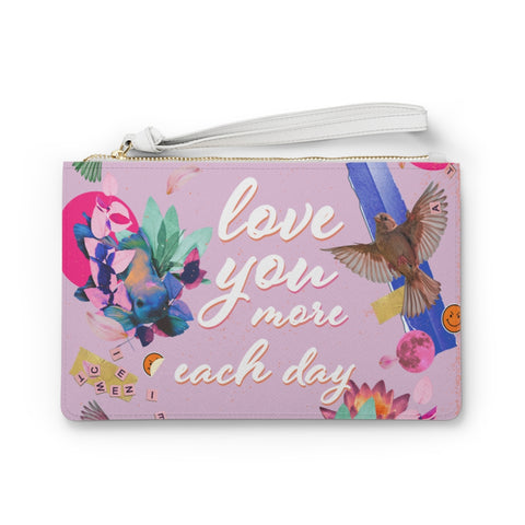 Love You More Each Day Floral Design Vegan Zipped Clutch Bag