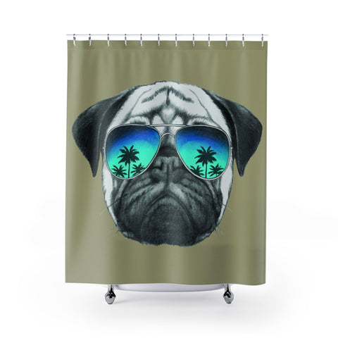 Pug in Sunglasses Beige Shower Curtains