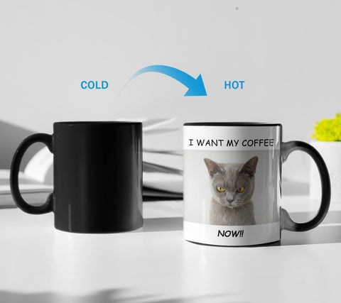 Heat Sensitive Cat Loves Coffee Ceramic Color Changing Mug