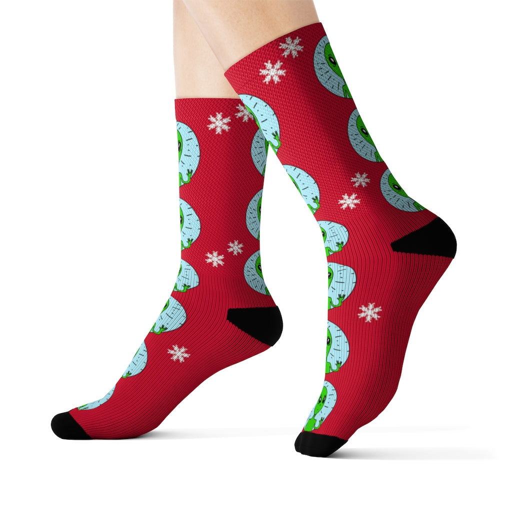Holiday Weird Alien Socks
