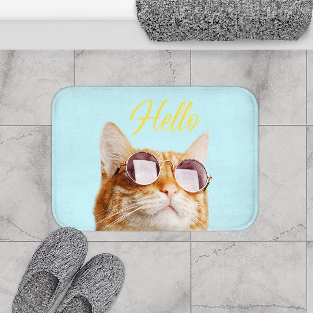 Hello Cat with Sunglasses Bath Mat