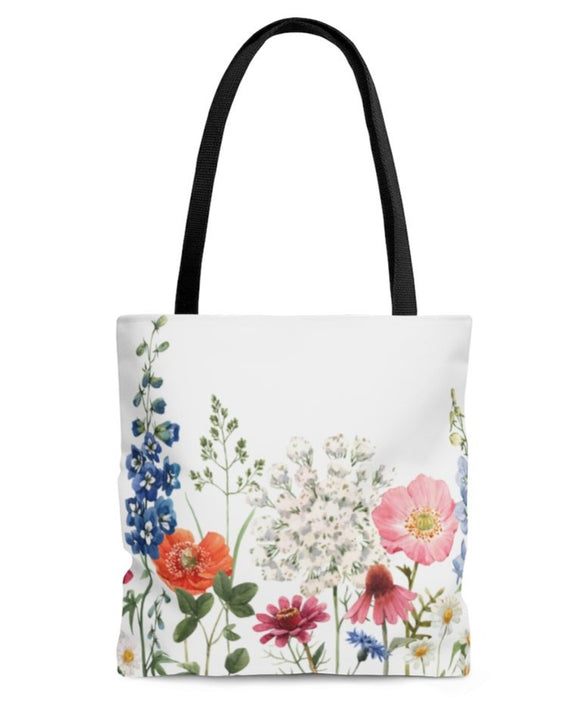 Double Sided Spring Floral Print Tote Bag Medium