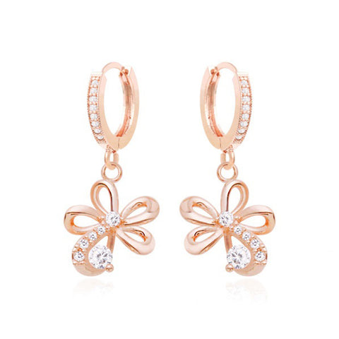 Gemma Floral Crystal Earrings with 14K Gold Pin