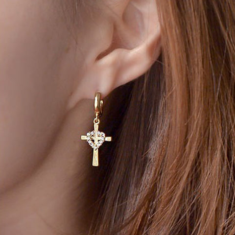Milla Cross Earrings with Swarovski Crystals