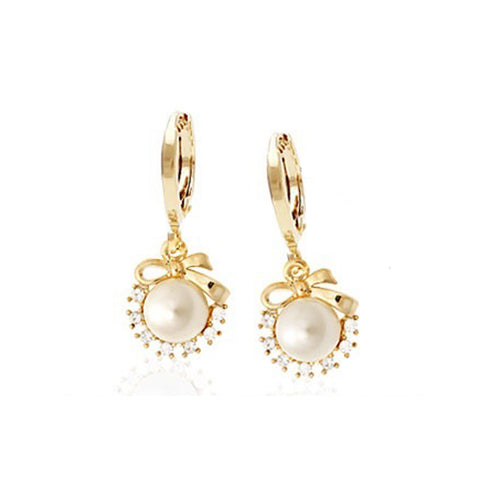 Hallie Bow Pearl Earrings with Swarovski Crystals