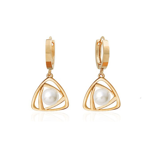Belen Pearl Drop Rose Gold Earrings with 14K Gold Pin