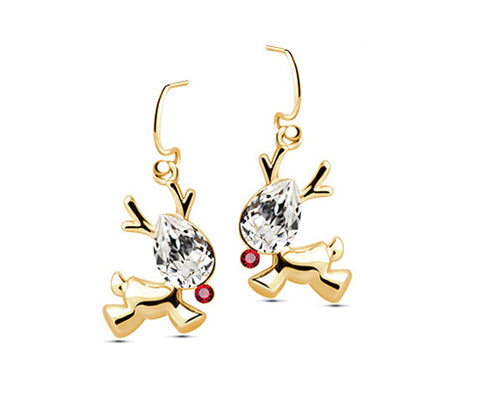 Reindeer  Crystal Earrings