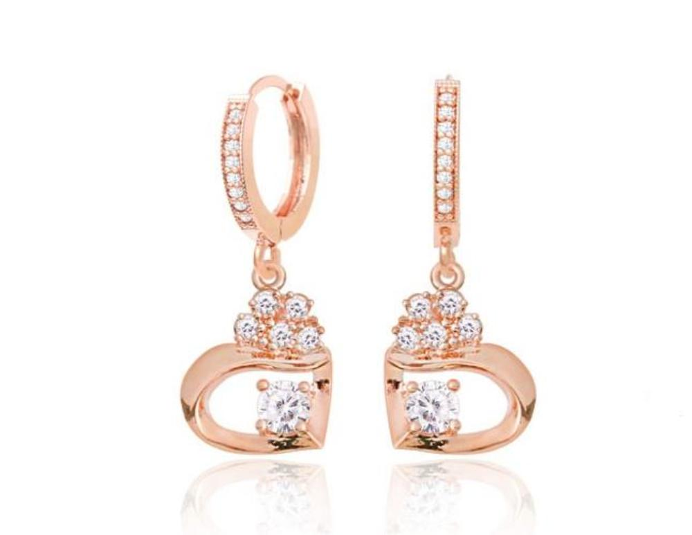 Olivia Rose Gold Small Hoop Crystal Earrings with 14K Gold Pin