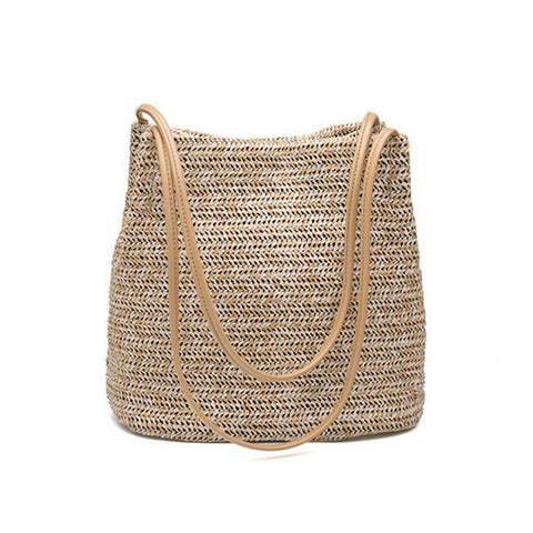 Trimmed Vegan Leather Strap Straw Tote