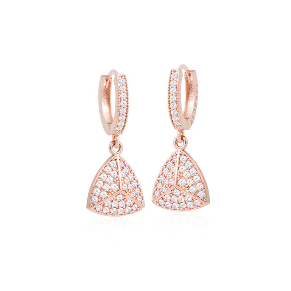 Lyra Dangle Crystal Earrings with 14K Rose Gold Pin