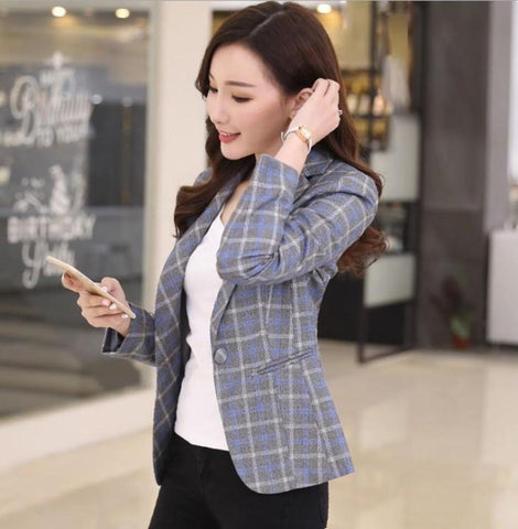 Womens Single Button Slim Fit Checkered Blazer
