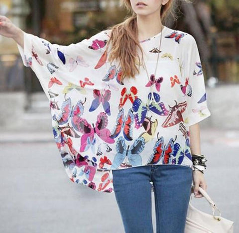 Womens Loose Fit Butterfly Theme Batwing Top