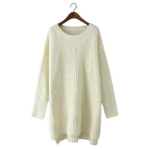 Womens Round Neck Side Slit Knit Sweater