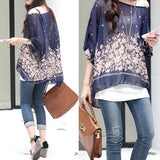 Womens Loose Fit Navy Batwing Tunic