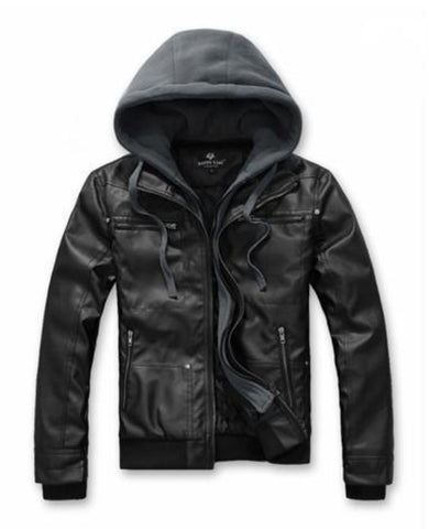 Mens Hooded Faux Leather Biker Jacket