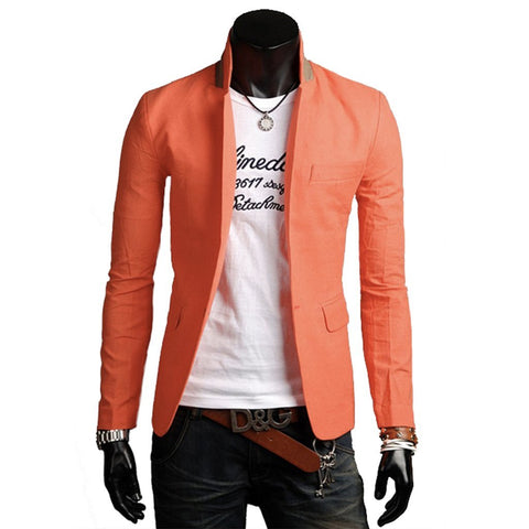 Mens Stand Collar Casual Blazer