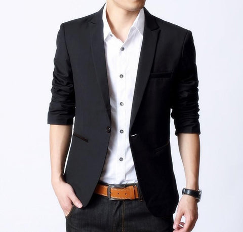 Mens Slim Fit Classic Black Blazer with Faux Leather Details Pocket