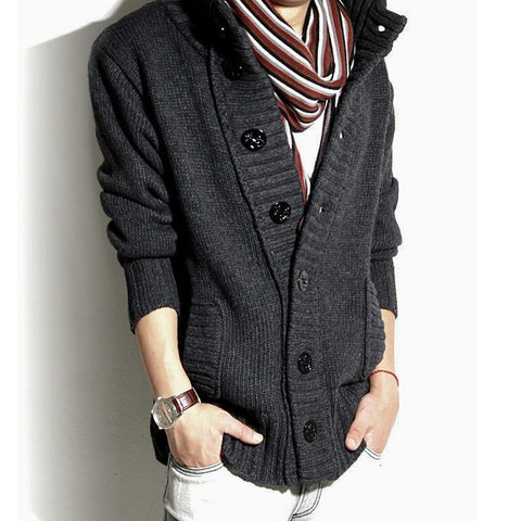 Mens High Collar Cardigan in Gray