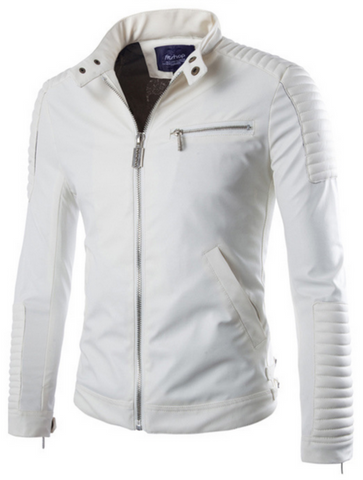 Mens Faux Leather White Biker Jacket