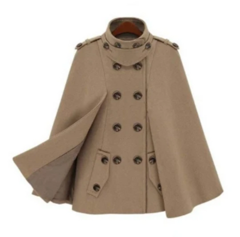 Womens Double Breasted Cape Coat