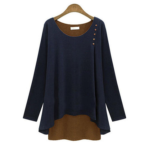 Navy Blue Layered Look Long Sleeve Button Top Blouse