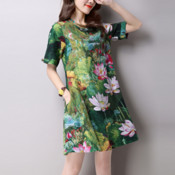 Casual Summer Short Sleeve Floral Dress