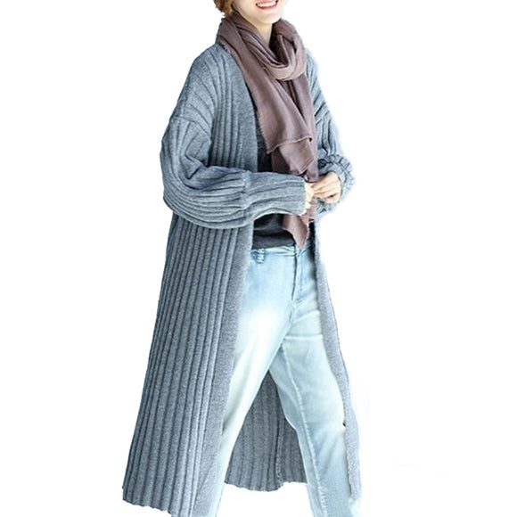 Long Casual Street Style Cardigan in Gray