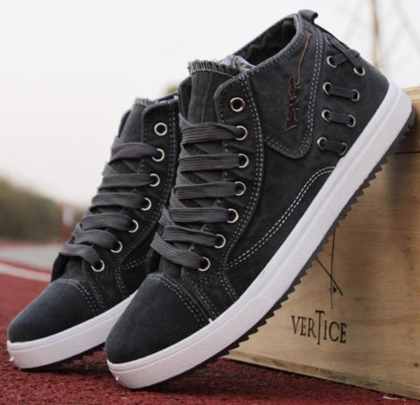 Mens Casual Lace Up Denim Sneakers Onetify