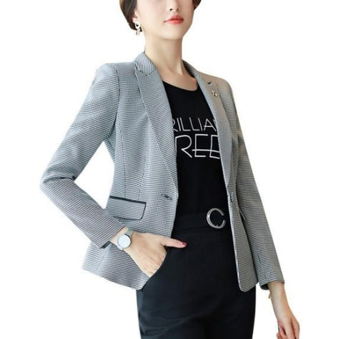 Womens Slim Fit Houndstooth Blazer