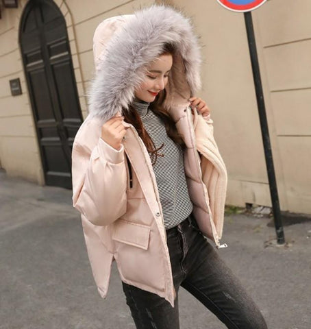 Womens Winter Short Puffy Coat with Hood in Pink