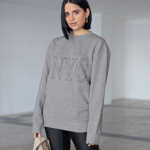 Womens Gray NYC Crewneck Sweatshirt