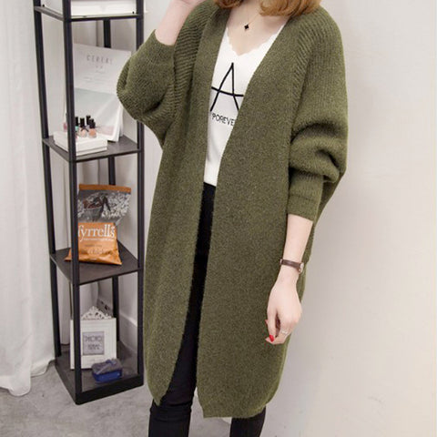 Womens Open Front Knit Mid Length Cardigan