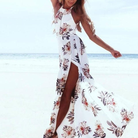 Summer Floral Print Chiffon Long Openback Dress
