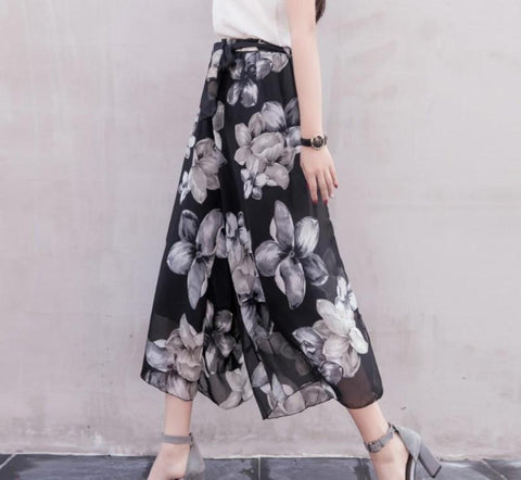 Womens Floral Wide Leg Chiffon Pants