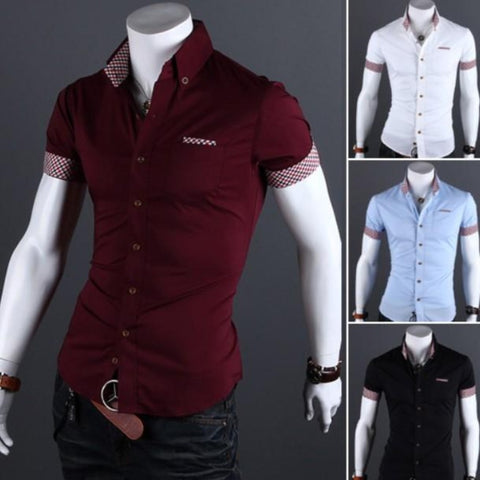 Mens Button Front Slim Fit Short Sleeve Shirt