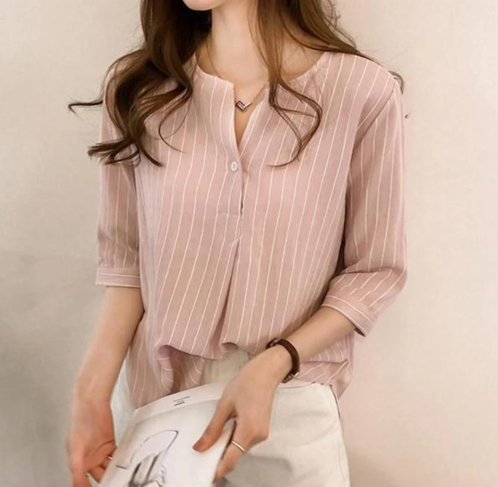 Womens Blossom Pink Button Front Stripe Shirt