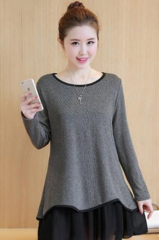 Womens Long Sleeve Layered Top